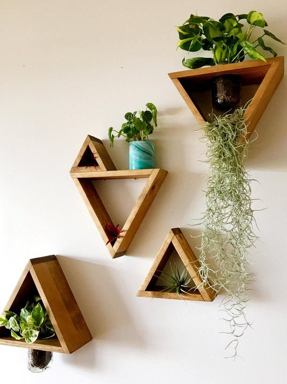 Wooden Triangle Plant Holder