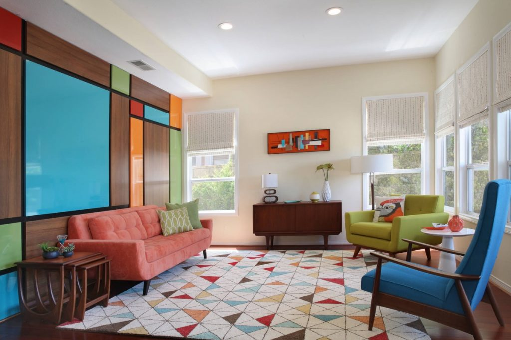 mid century Incorporating Colors living room